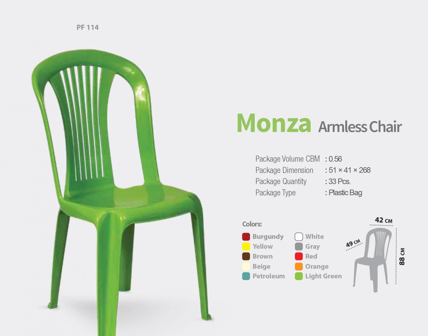 4 כסאות פלסטיק דגם MONZA